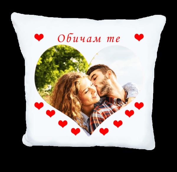Възглавничка сърце и снимка с надпис