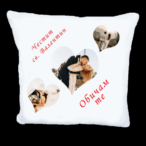 Възглавничка със снимки в сърца