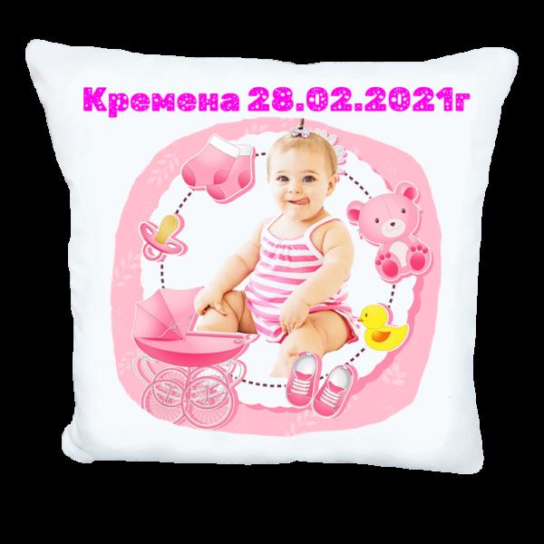 Възглавничка визитка за бебе момиче