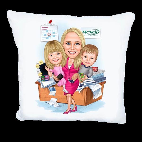 Карикатура майка с деца