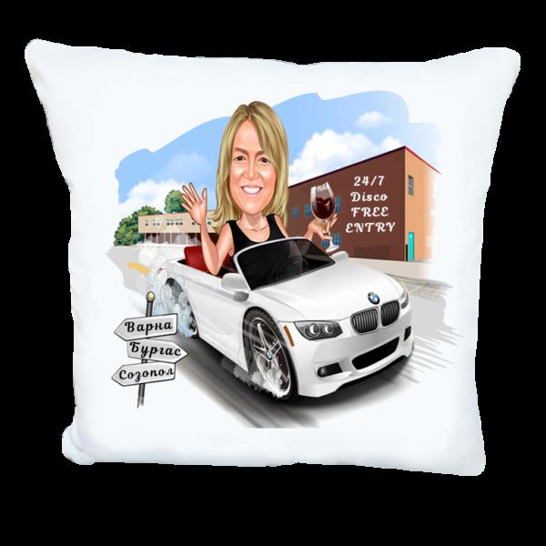 Карикатура за жена с BMW