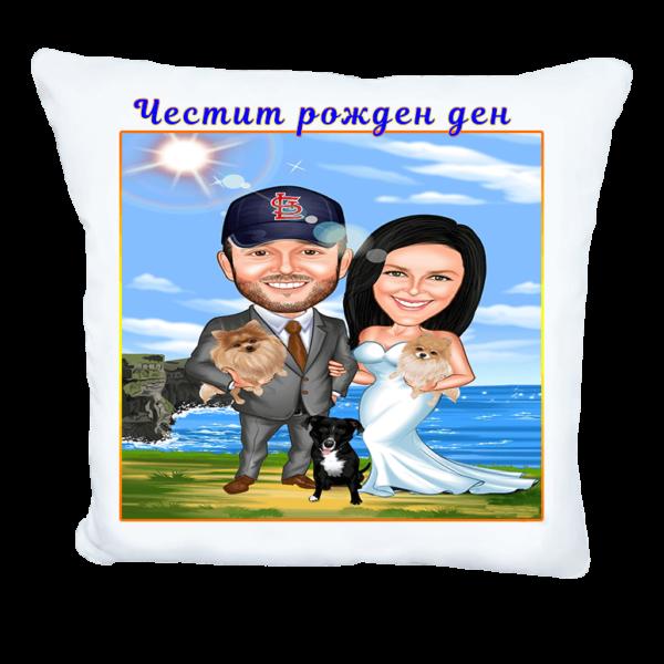 Карикатура за мъж и жена с куче